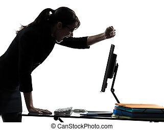 silhouette, échec, informatique, affaires femme, panne