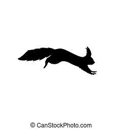 silhouette, écureuil, illustration, silhouette., courant, vecteur, noir