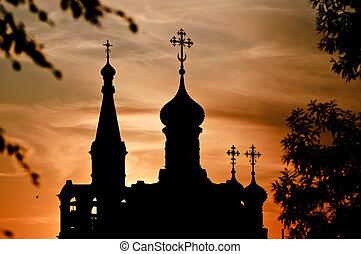 silhouette, église