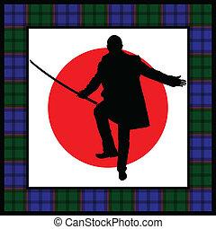 silhouette, épée, homme