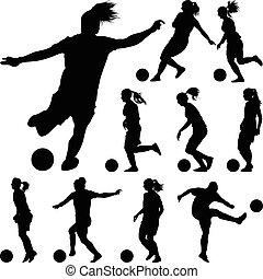silhouette., プレーヤー, ベクトル, 女の子, サッカー, 女性