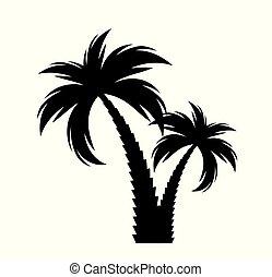 silhouette., ベクトル, 黒, ヤシの木, イラスト