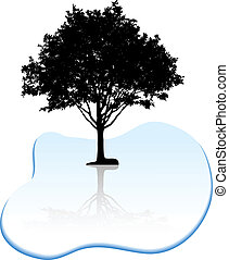 silhouette., 樹