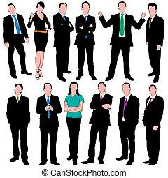 silhouette, 12, persone affari