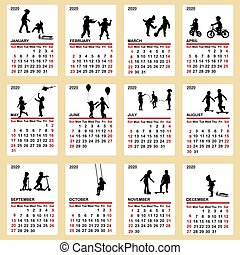 silhouette, 2020, calendario, bambini