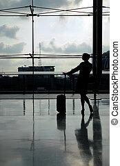 silhouette, aéroport, steward