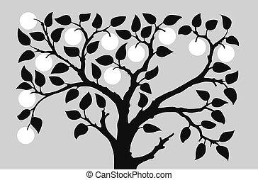 silhouette, a, aple, albero, su, sfondo grigio, vettore, illustrazione