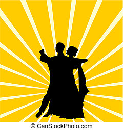 Silhouette a couple dancing waltz - Vector illustration of...