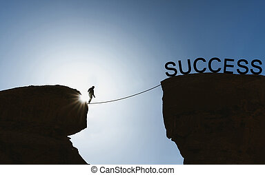 Silhouette a man balancing walking on rope to success