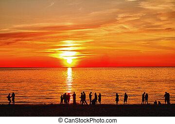 silhouette, a, tramonto
