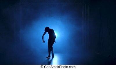 Silhouette a young flexible ballerina in black bodysuit ...
