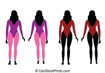 silhouette, abbigliamento sportivo, donne