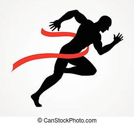 silhouette, abbildung, von, a, sprinter, an, zielband
