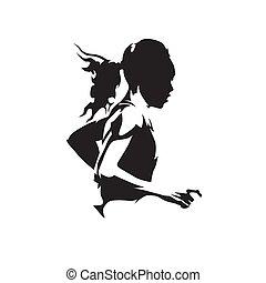 silhouette., abstract, rennende , logo, vector, vrijstaand, vrouw, uitvoeren