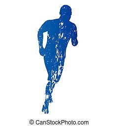 silhouette, abstract, rennende , vector, grungy, man, uitvoeren
