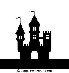 silhouette, achtergrond., vector, kasteel, witte , pictogram