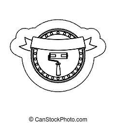 silhouette, adesivo, rullo, monocromatico, cornice, nastro, circolare
