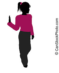 silhouette, adolescent, illustration