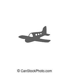 silhouette., aeronave, vetorial, avião, ou, ícone