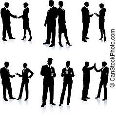 silhouette, affari, collezione, squadra