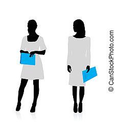 silhouette, affari donna