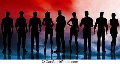 silhouette, affari, lavorativo, Persone