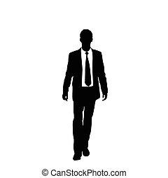 silhouette, affari, passeggiata, passo, vettore, nero, ...