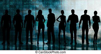 silhouette, affari, Persone
