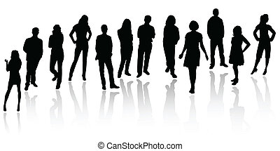 silhouette, affari persone