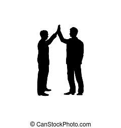 silhouette, affari, segno., uomini, due, hight, colaboration, cinque