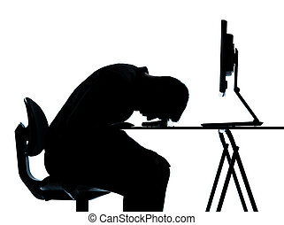 silhouette, affari, stanco, calcolare, uno, computer, in...