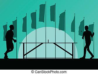 silhouette, affiche, tennis, ping, joueur, vecteur, drapeaux, fond, devant, table, pong