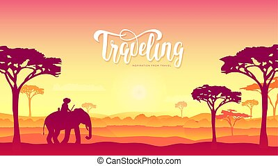 Silhouette African Elephants with man walking on nature at sunset design. Wild animal against the background of nature africa concept. wildlife reserve in the savannah