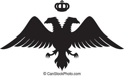 silhouette aigle, dirigé, double, couronne, vecteur