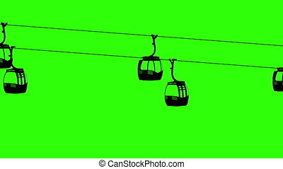 Silhouette air cable cabins animation. Green screen...