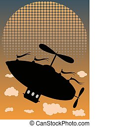 Abstract blimp flies up above clouds, floating past fading sun and dusky sky, editable vector illustration