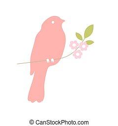 silhouette, albero, collezione, vettore, ramo, uccello