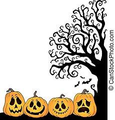 silhouette, albero, halloween, tema, 2, mezzo