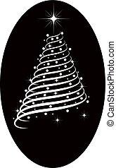 silhouette, albero, natale