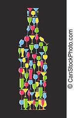 silhouette, alcoolique, illustration, verre, vecteur, bouteille, vin