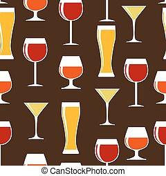 silhouette, alcoolique, modèle, seamless, verre, vecteur, il, fond
