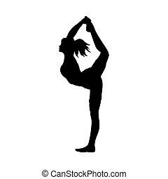 silhouette, allenamento, atteggiarsi, flessibilità, yoga, ragazza