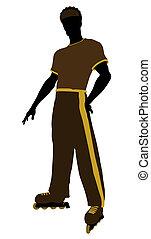 silhouette, américain, patineur, mâle africain, rouleau