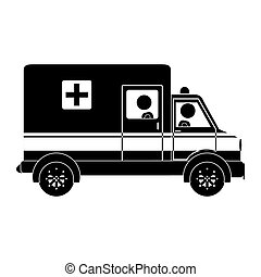 Silhouette ambulance truck with medical symbol