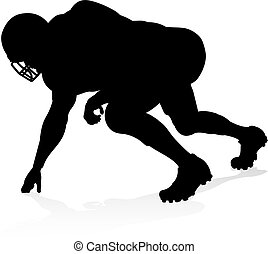 Silhouette American Football Player - Detailed American...