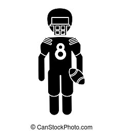 silhouette american football player with helmet and ball