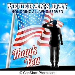silhouette, amerikanische , soldat, fahne, salutieren, veteranentag