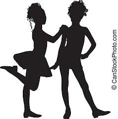 silhouette, amis, enfants