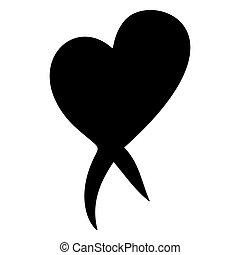 silhouette, amore, set, valentina, nero, adulto, cuori, disegno, giorno