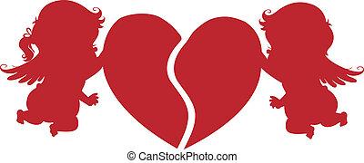 silhouette, amorini, cuore